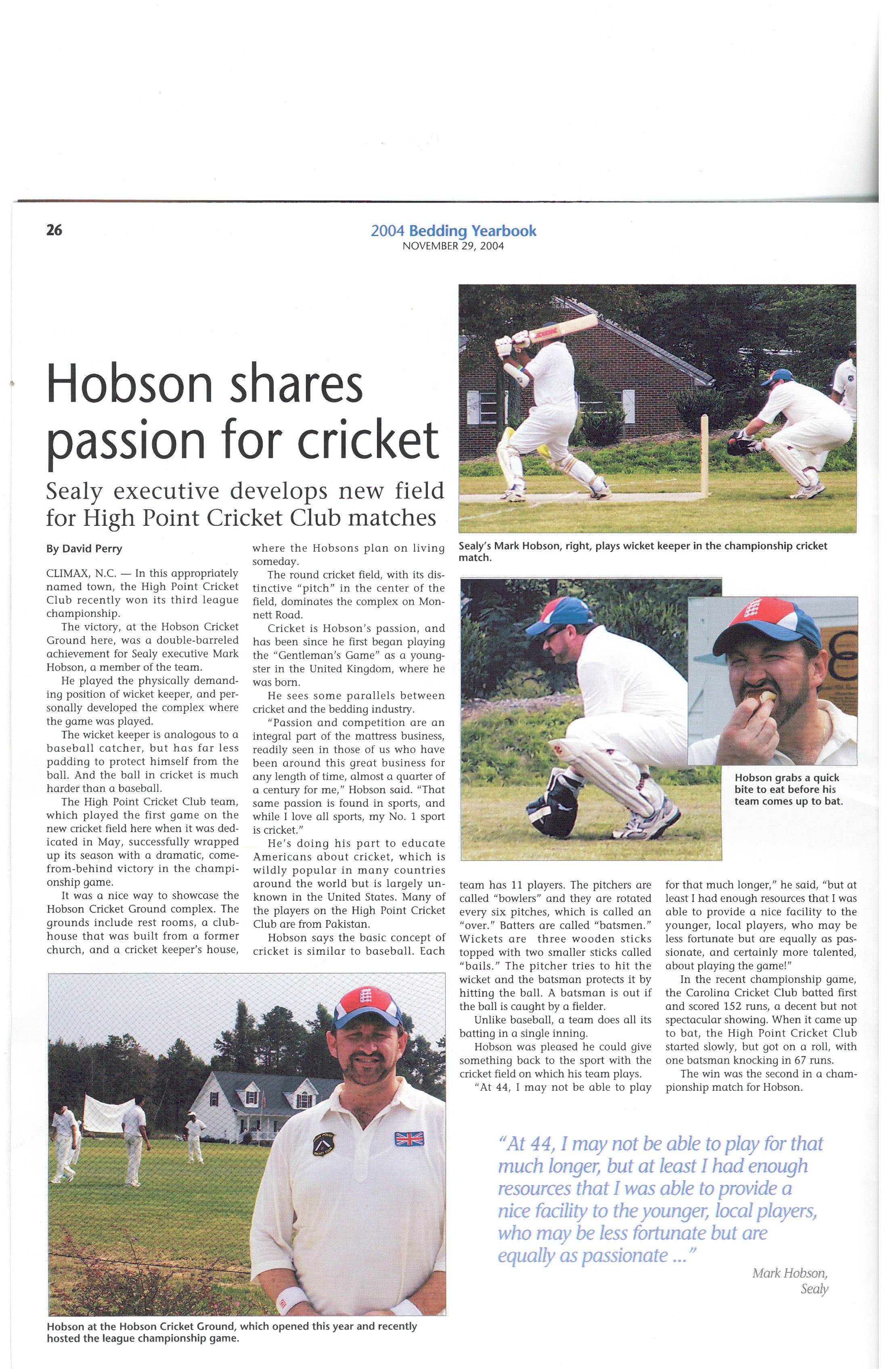 welcome to high point cricket club page